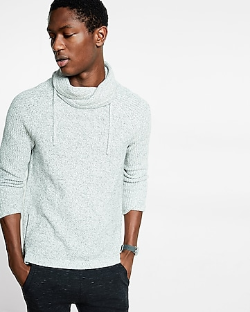 marled funnel neck sweater