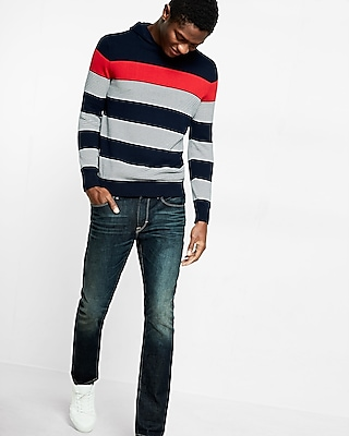 Express Mens Multi Stripe Pullover Hooded Sweater