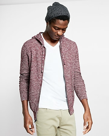 cotton textured full zip hooded sweater