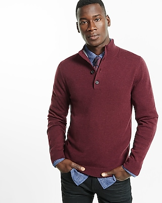 Express Mens Merino Wool Blend Button Mock Neck Sweater Red Small