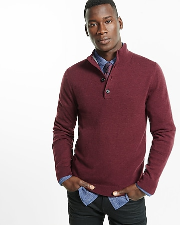 merino wool blend button mock neck sweater