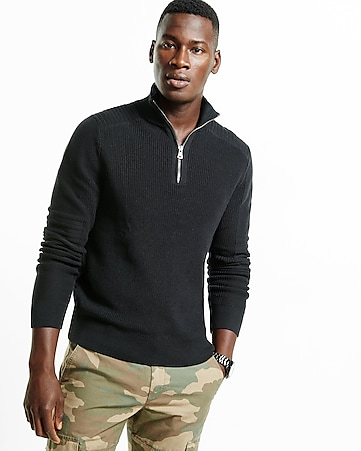 ribbed zip high mock neck moto sweater