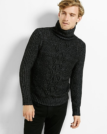 chunky cable knit turtleneck sweater