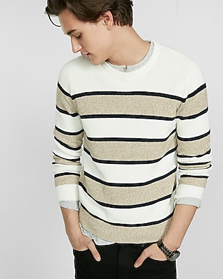 Express Mens Soft Ivory Marl Stripe Crew Neck Sweater