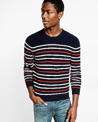 Express Mens Navy Textured Stripe Crew Neck Sweater