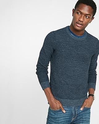Express Mens Horizontal Stitch Crew Neck Sweater Blue Men's L Blue L