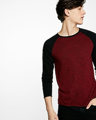 Express Mens Color Block Crew Neck Sweater Red Small 21342271