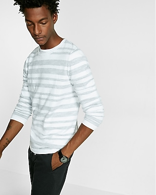 Express Mens Stripe Crew Neck Sweater