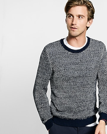 tape yarn crew neck sweater