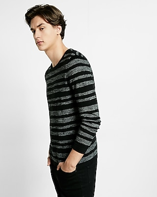 Express Mens Black Variegated Stripe Crew Neck Sweater