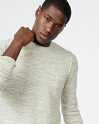 Express Mens Textured Crew Neck Sweater