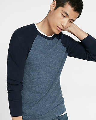 Express Mens Textured Color Block Crew Neck Sweater