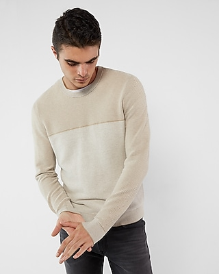 Express Mens Texture Blocked Crew Neck Cotton Sweater