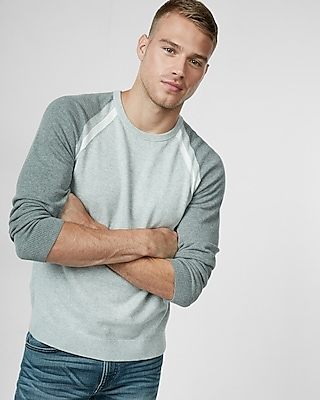 Express Mens Color Blocked Crew Neck Sweater