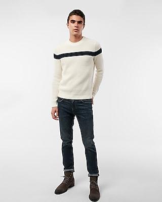 Express Mens Chest Stripe Crew Neck Cotton Sweater