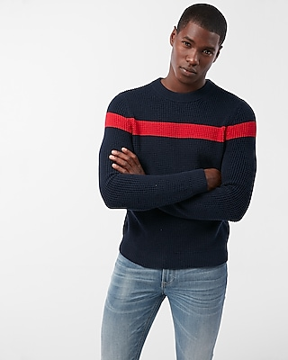 Express Mens Chest Stripe Crew Neck Cotton Sweater Blue X Small