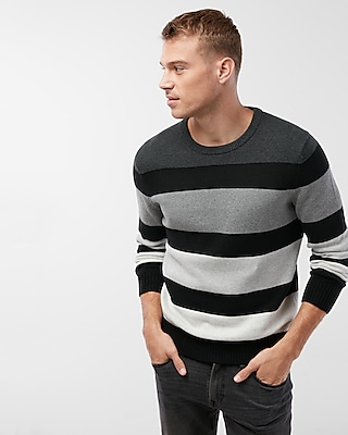 Express Mens Stripe Color Block Cotton Sweater Black X Small