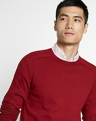Express Mens Lightweight Crew Neck Sweater Red Medium 11685913