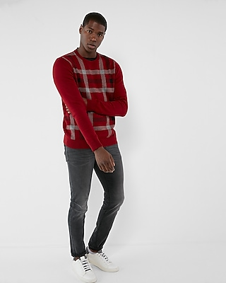 Express Mens Plaid Front Crew Neck Sweater Red Medium 13070946