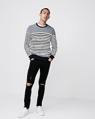Express Mens Striped Crew Neck Sweater