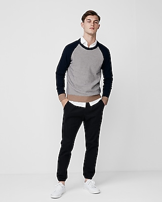 Express Mens Textured Cotton Crew Neck Sweater