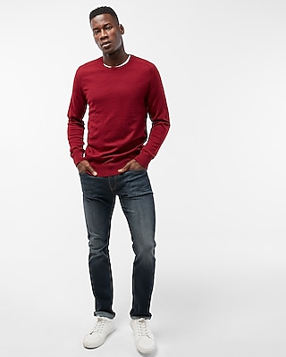 Express Mens Merino Wool Blend Performance Crew Neck Sweater
