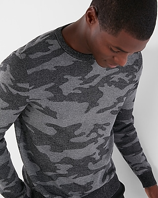 Express Mens Camo Crew Neck Sweater