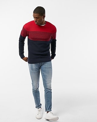Express Mens Color Block Stripe Crew Neck Sweater Red X Small