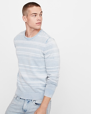 Express Mens Striped Long Sleeve Crew Neck Sweater