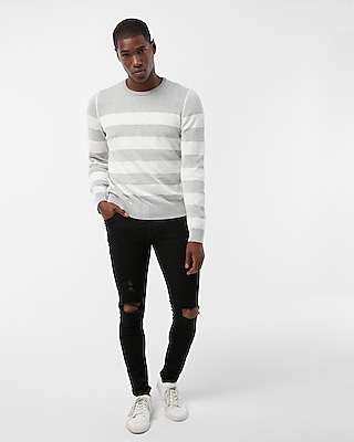 Express Mens Reversible Striped Crew Neck Sweater