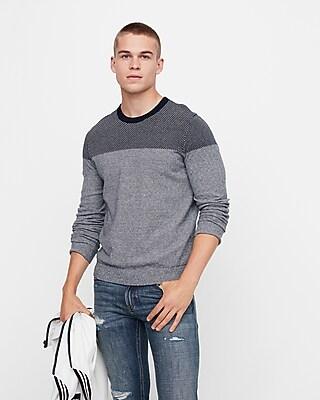 Express Mens Plaited Crew Neck Cotton Sweater