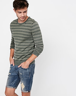Express Mens Garment Dyed Striped Crew Neck Sweater