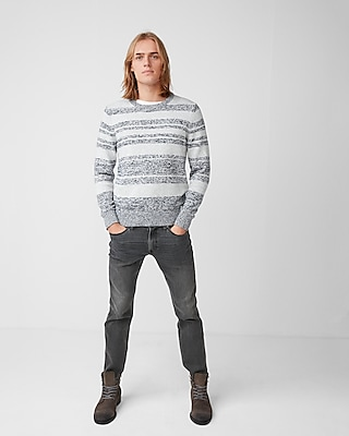 Express Mens Marl Stripe Crew Neck Sweater