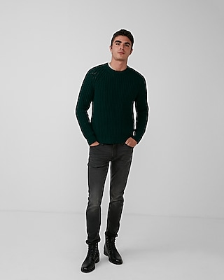Express Mens Supersoft Chenille Yarn Crew Neck Sweater