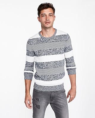Express Mens Mixed Stripe Crew Neck Sweater Blue Men's Xs Blue XS