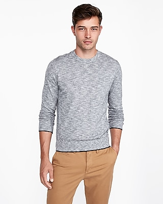 Express Mens Cotton Tipped Crew Neck Sweater