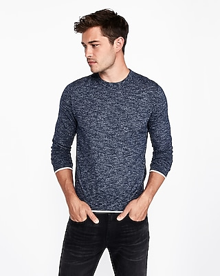 Express Mens Cotton Tipped Crew Neck Sweater Blue Men's Xs Blue XS