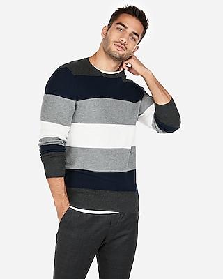 Express Mens Stripe Crew Neck Sweater