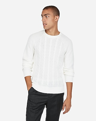Express Mens Solid Cable Knit Crew Neck Sweater