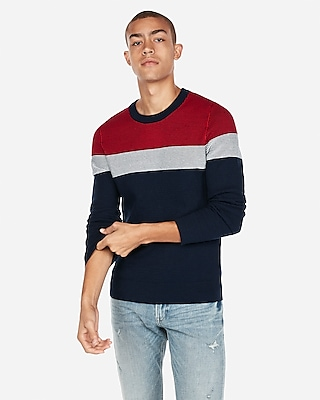 Express Mens Color Block Stripe Crew Neck Sweater