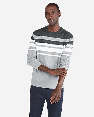 Express Mens Chest Stripe Crew Neck Sweater