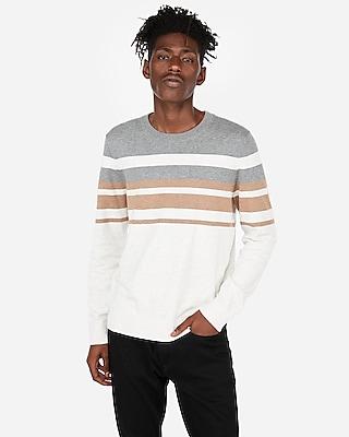 Express Mens Chest Stripe Crew Neck Sweater