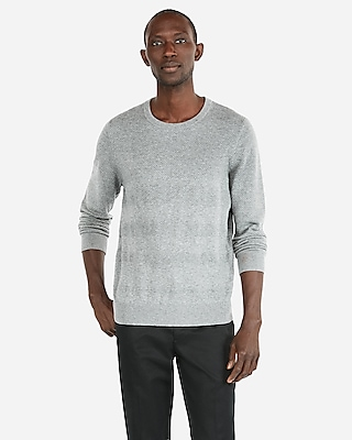 Express Mens Tuck Stitch Striped Crew Neck Sweater