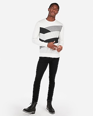 Express Mens Chevron Patterned Crew Neck Sweater