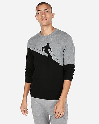Express Mens Ski Pattern Crew Neck Sweater