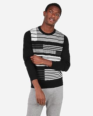 Express Mens Mixed Stripe Crew Neck Sweater