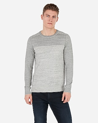 Express Mens Mixed Stripe Crew Neck Sweater