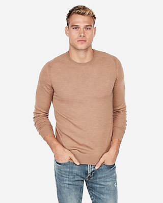 Express Mens Big & Tall Merino Wool Blend Thermal-Regulating Solid Crew Neck Sweater Neutral Men's Xxl Neutral Xxl