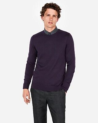 Express Mens Big & Tall Merino Wool Blend Thermal-Regulating Solid Crew Neck Sweater Purple Men's Xxl Purple Xxl