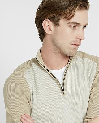 Express Mens Color Block Half Zip Mock Neck Sweater Neutral Large